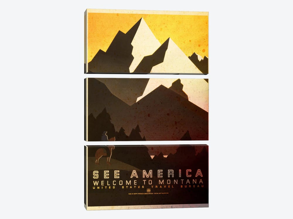 See America, Welcome to Montana by iCanvas 3-piece Canvas Artwork