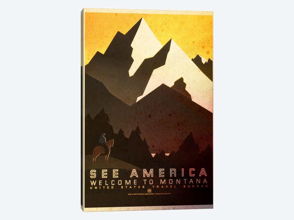 See America, Welcome to Montana by Unknown Artist 1-piece Canvas Artwork