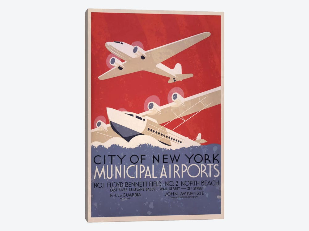 City of New York Minicipal Airports by Unknown Artist 1-piece Canvas Art Print