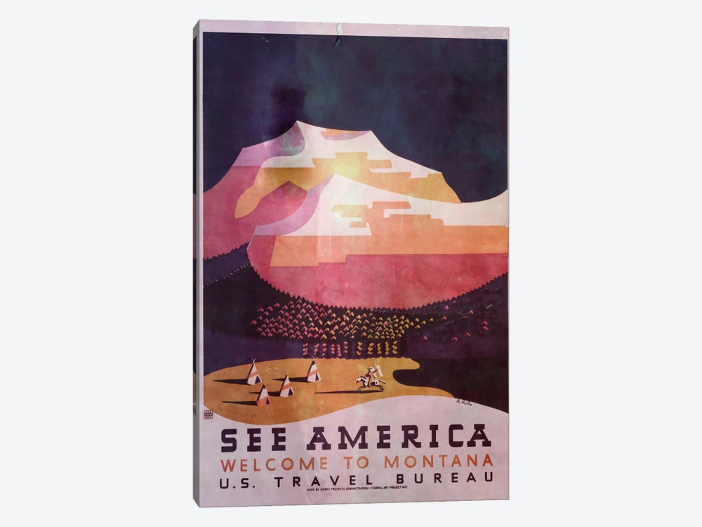 See America, Welcome to Montana 2 by Unknown Artist 1-piece Canvas Art