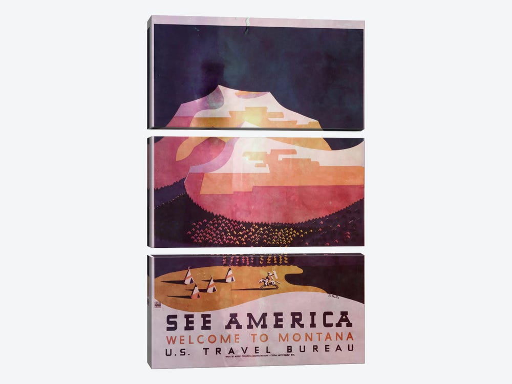 See America, Welcome to Montana 2 by iCanvas 3-piece Canvas Art