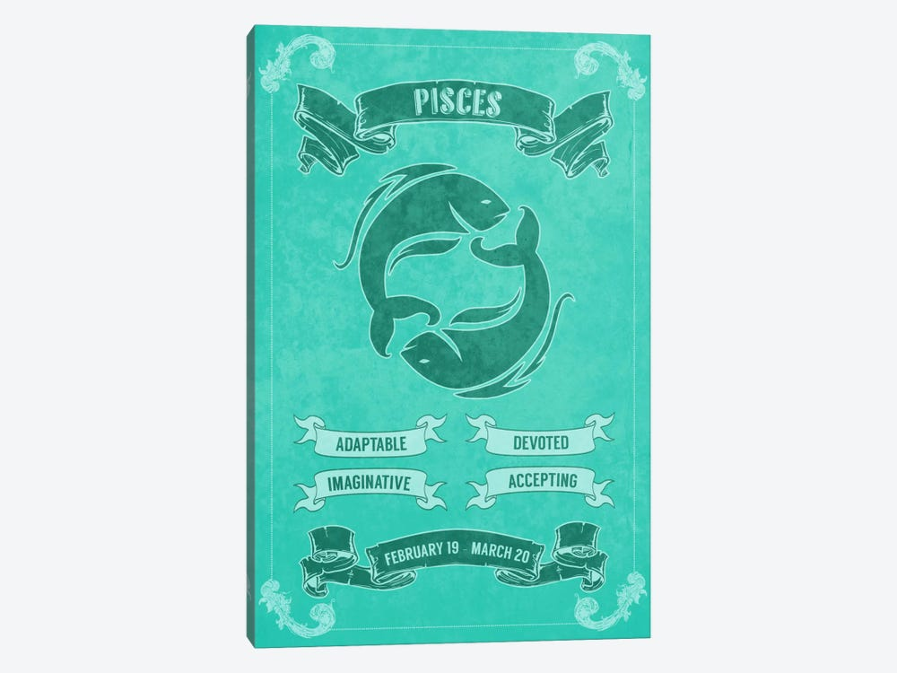 Pisces Horoscope by Unknown Artist 1-piece Canvas Wall Art