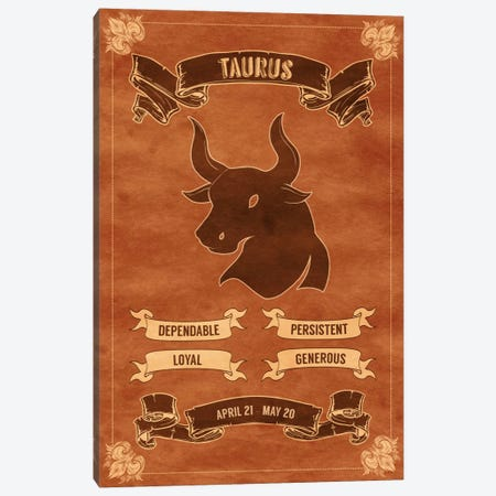 Taurus Horoscope Canvas Print #ICA177} by Unknown Artist Canvas Print