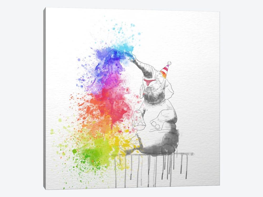 Happy Elephant by Unknown Artist 1-piece Canvas Wall Art