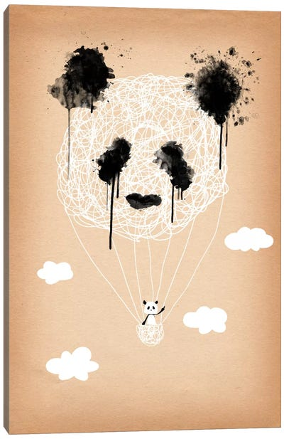 Panda Hot Air Balloon Canvas Art Print