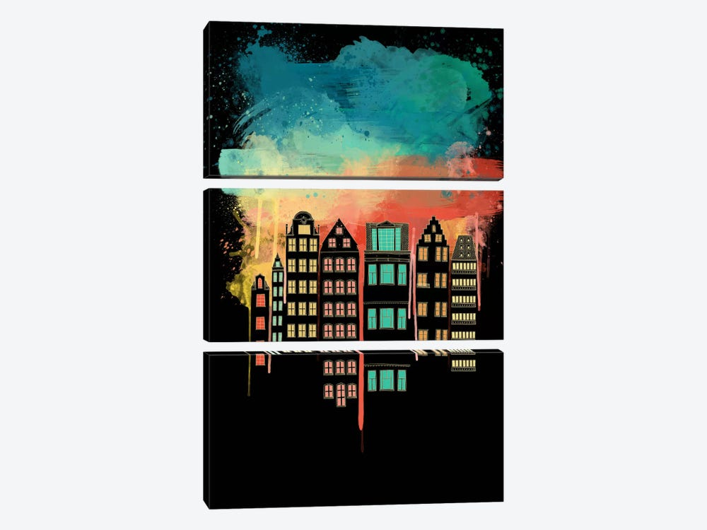 City at Night by Unknown Artist 3-piece Art Print