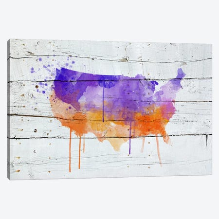 US Wooden Water Color Map Canvas Print #ICA188} by Unknown Artist Canvas Print
