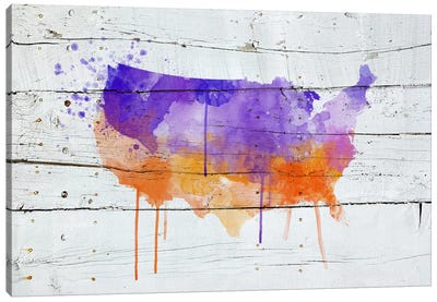 US Wooden Water Color Map Canvas Art Print