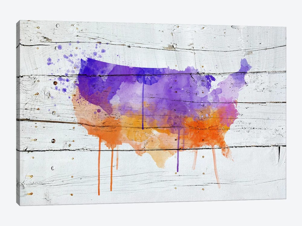 US Wooden Water Color Map by Unknown Artist 1-piece Canvas Print