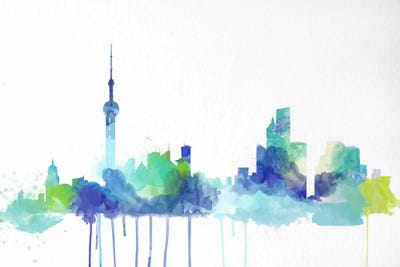 Toronto Watercolor Skyline Canvas Artwork by Unknown Artist | iCanvas