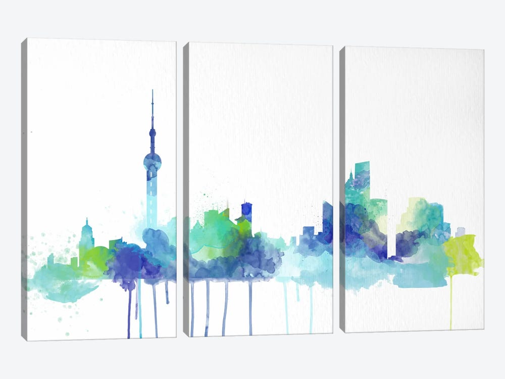 Toronto Watercolor Skyline 3-piece Canvas Art