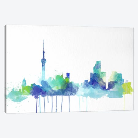 Toronto Watercolor Skyline Canvas Print #ICA189} by Unknown Artist Canvas Print