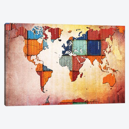 Tile World Map Canvas Print #ICA19} by Unknown Artist Canvas Artwork
