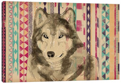 Tribal Wolf Canvas Print #ICA200