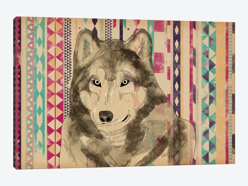 Tribal Wolf by iCanvas 1-piece Canvas Print