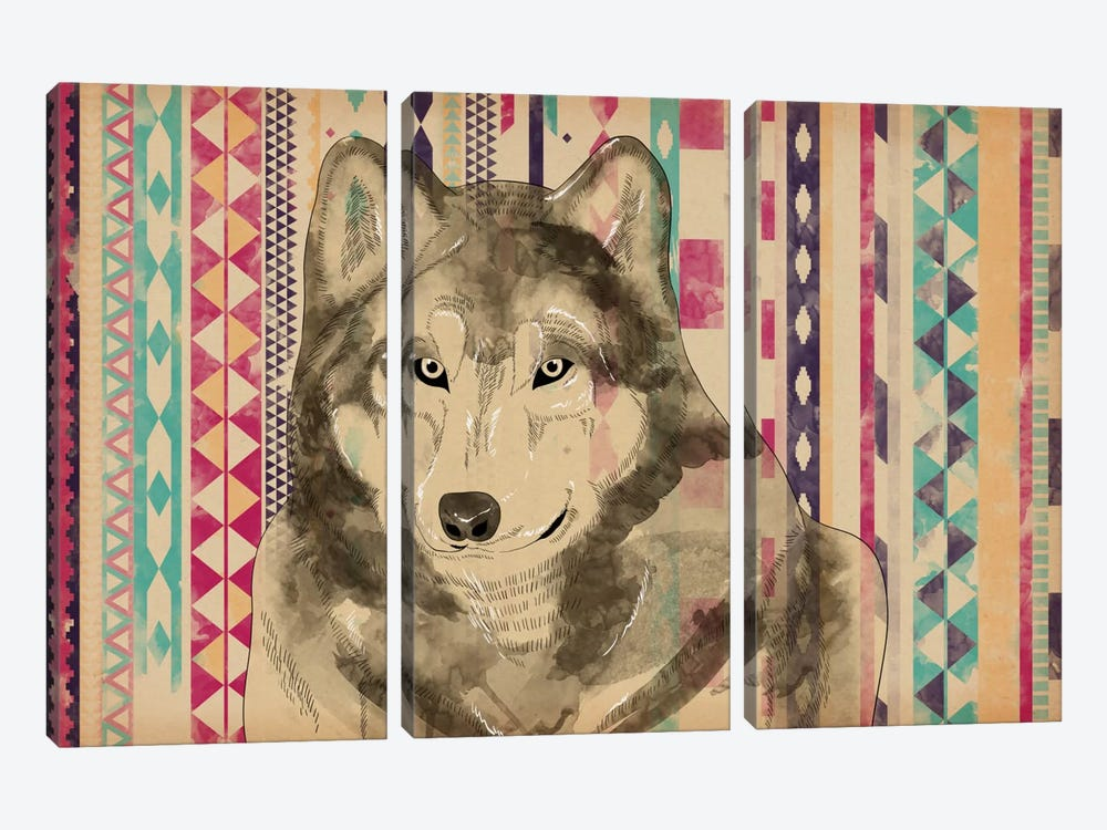 Tribal Wolf by iCanvas 3-piece Canvas Art Print