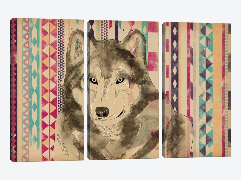 Tribal Wolf by Unknown Artist 3-piece Canvas Art Print