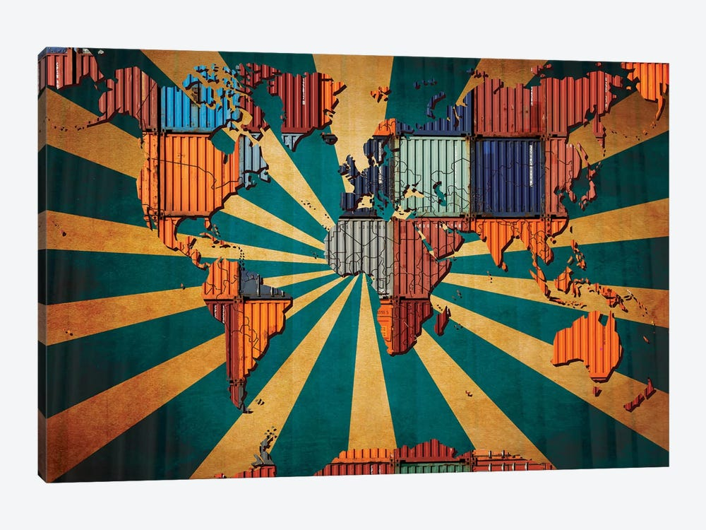 Rising Sun Tile World Map by iCanvas 1-piece Canvas Artwork