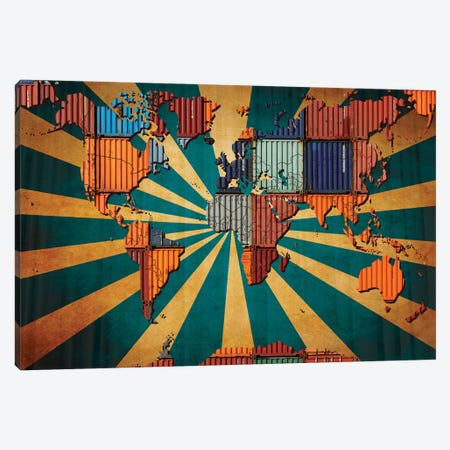 Rising Sun Tile World Map Canvas Print #ICA20} by Unknown Artist Canvas Art Print