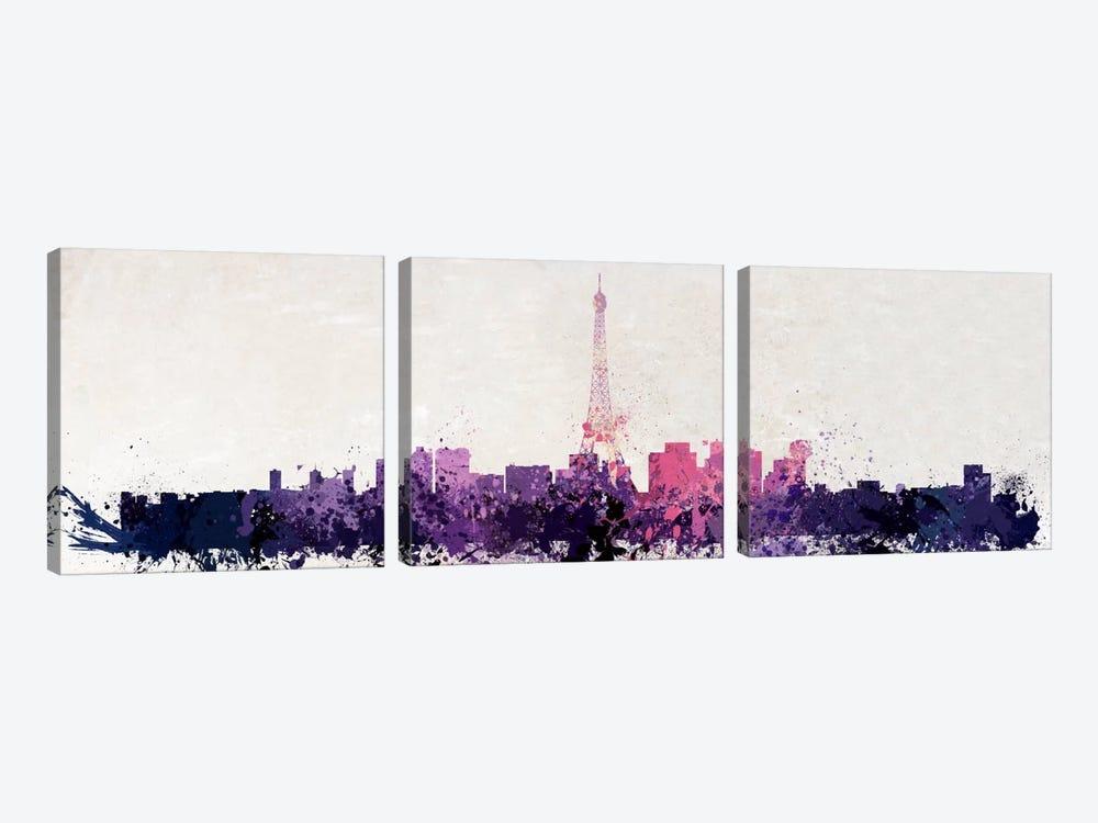 Paris Watercolor by Unknown Artist 3-piece Canvas Art Print