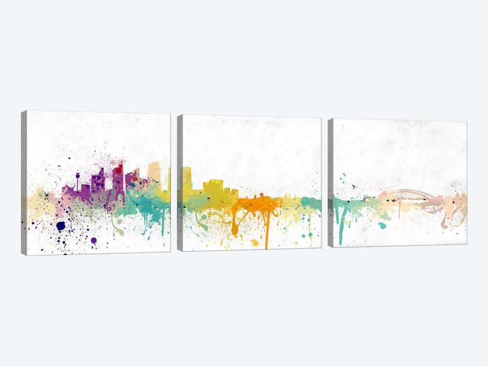 Pittsburgh Watercolor Skyline by iCanvas 3-piece Canvas Wall Art
