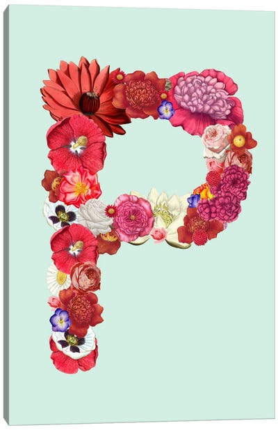 P for Flower Power Canvas Art Print
