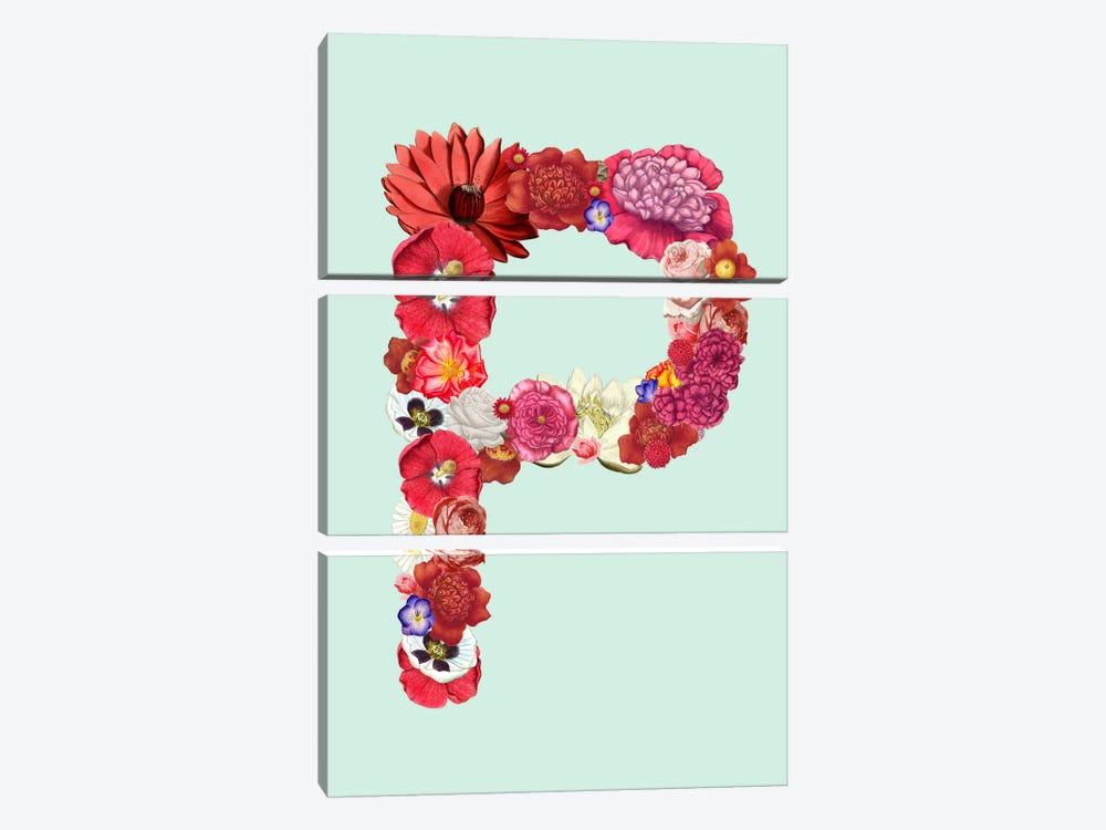 P for Flower Power by iCanvas 3-piece Canvas Print