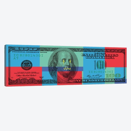 Hundred Dollar Bill - Color Block I Canvas Print #ICA2222} by 5by5collective Canvas Art Print