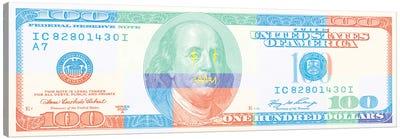Hundred Dollar Bill - Color Block II Canvas Art Print