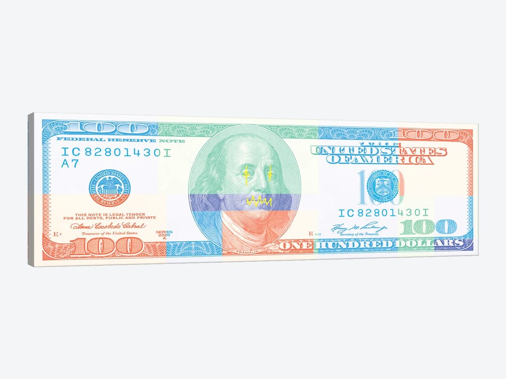 Hundred Dollar Bill - Color Block II by 5by5collective 1-piece Art Print