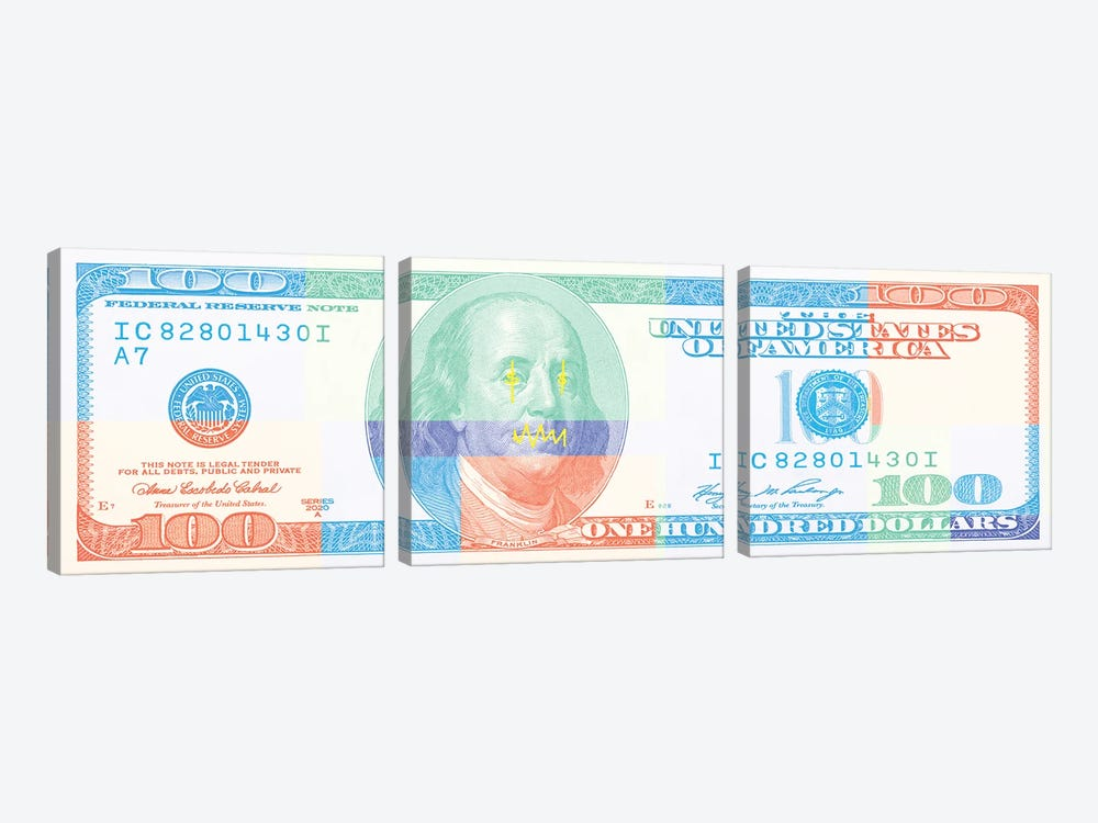 Hundred Dollar Bill - Color Block II by 5by5collective 3-piece Canvas Print