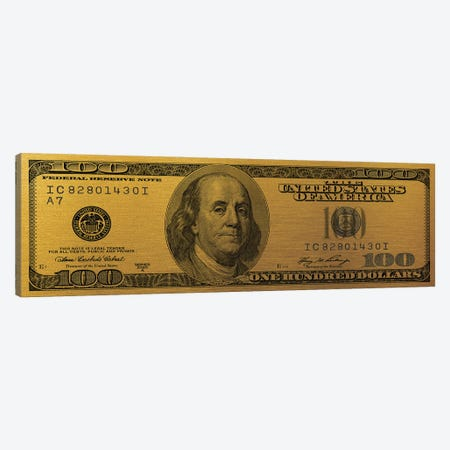 Hundred Dollar Bill - Gold Canvas Print #ICA2224} by 5by5collective Canvas Art