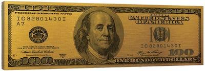 Hundred Dollar Bill - Gold Canvas Art Print
