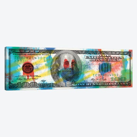 Hundred Dollar Bill - Spray Paint Canvas Print #ICA2226} by 5by5collective Canvas Art