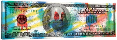 Hundred Dollar Bill - Spray Paint Canvas Art Print