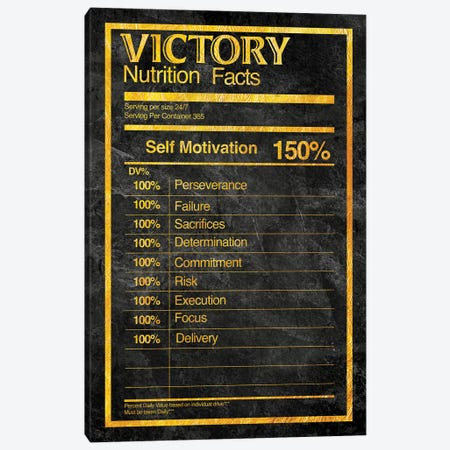 Nutrition Faces Victory - Gold Canvas Print #ICA2229} by 5by5collective Canvas Art Print