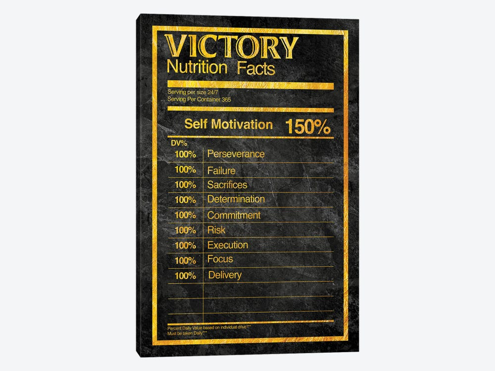 Nutrition Faces Victory - Gold by 5by5collective 1-piece Canvas Print
