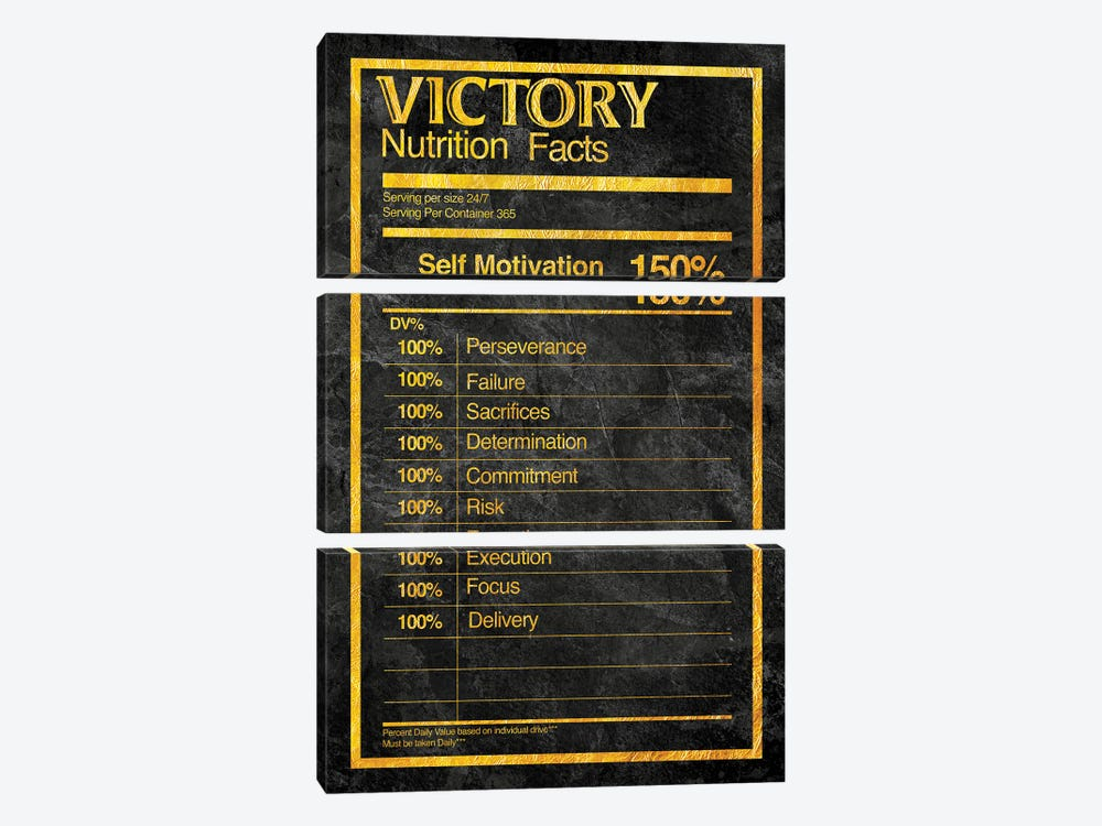 Nutrition Faces Victory - Gold by 5by5collective 3-piece Canvas Art Print