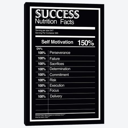 Nutrition Facts Success - BW Canvas Print #ICA2230} by 5by5collective Canvas Artwork