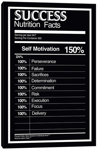 Nutrition Facts Success - BW Canvas Art Print