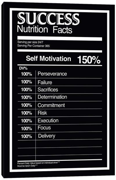 Nutrition Facts Success - BW Canvas Art Print