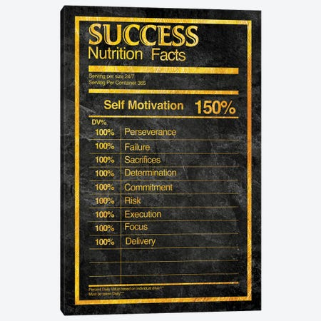 Nutrition Facts Success - Gold Canvas Print #ICA2231} by 5by5collective Canvas Art