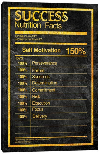 Nutrition Facts Success - Gold Canvas Art Print