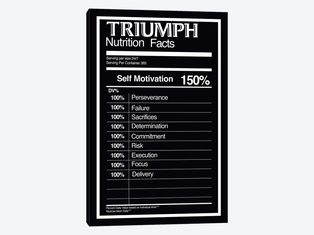 Nutrition Facts Triumph - BW by 5by5collective 1-piece Art Print