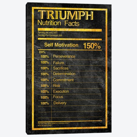 Nutrition Facts Triumph - Gold Canvas Print #ICA2233} by 5by5collective Canvas Art