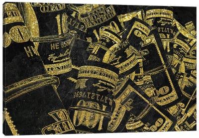 Rolled Up Bills - Gold Canvas Art Print