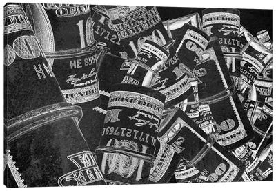 Rolled Up Bills - Silver Canvas Art Print