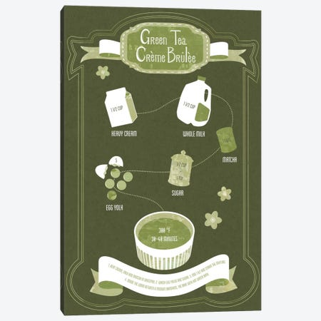 Green Tea Creme Brule Recipe Canvas Print #ICA229} by Unknown Artist Canvas Artwork
