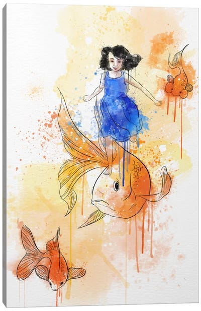 Koi and Young Girl Canvas Art Print