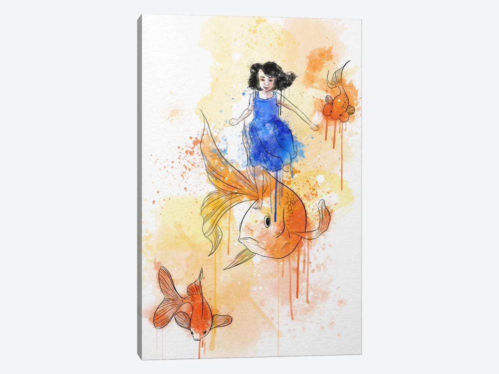 Koi and Young Girl by iCanvas 1-piece Canvas Artwork
